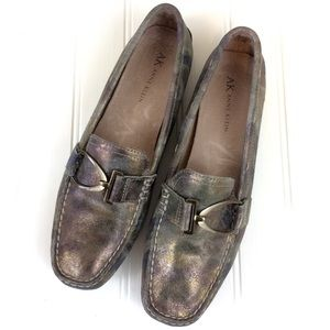 Anne Klein metallic camouflage driving moc loafers